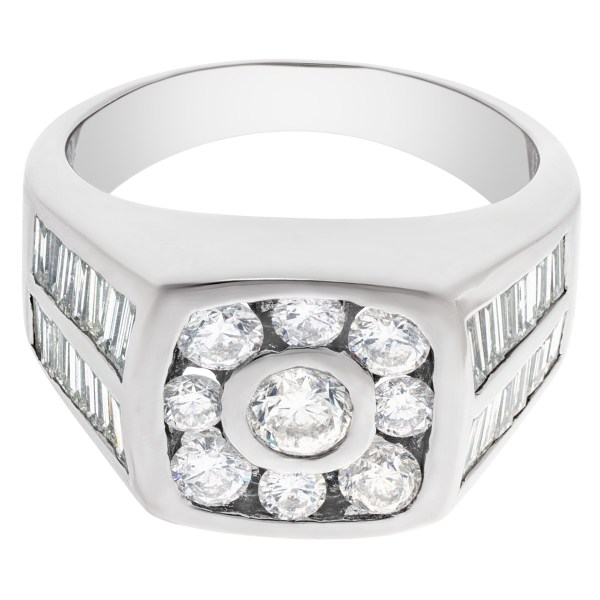 Diamond ring in 14k white gold with approx. 3.35 cts in diamonds