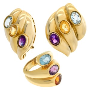 Swirled gold earrings and ring set in 14k with topaz, amethyst & citrine