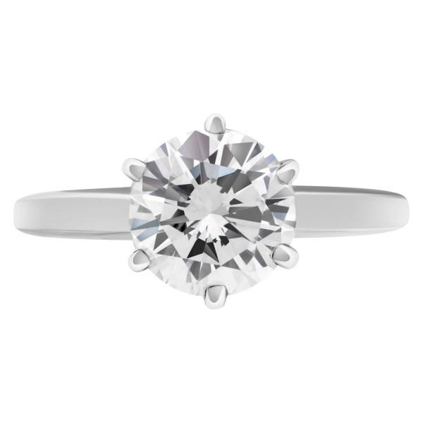 GIA Certified round brilliant cut diamond ring 1.51 carat (E color, VS2 clarity)