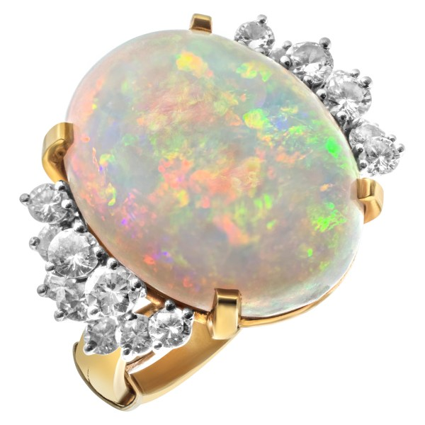 Australian opal and diamond ring set in 18k white and yellow gold