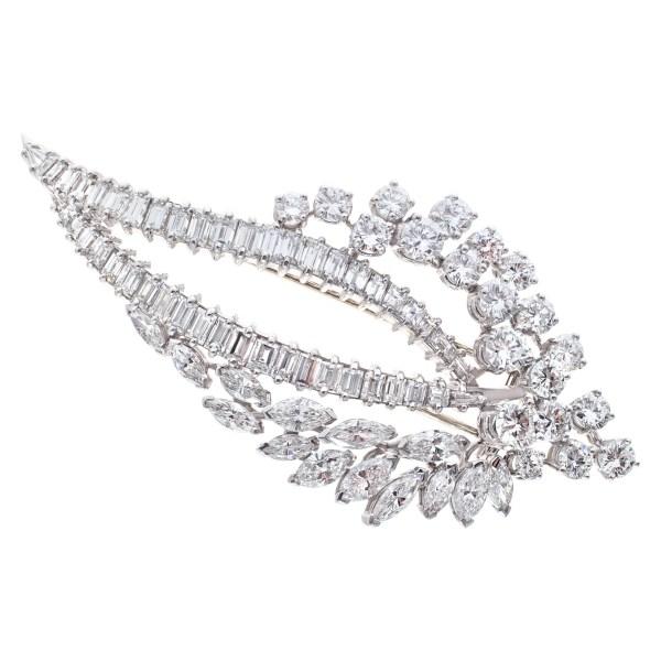 Diamond spray pin in platinum, over 12.50 carats in round, marquise, baguette & emerald cut diamonds