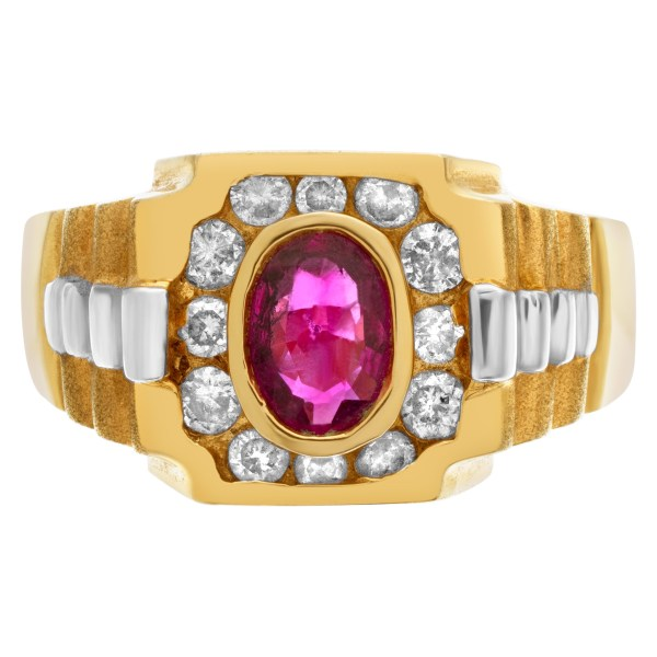 """""""President"""" style ring with oval ruby center accented with approximately 0.35 cts in diamonds"""