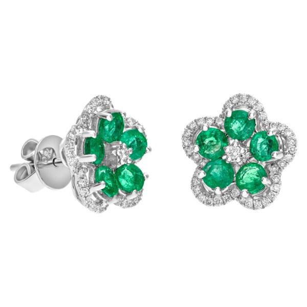 Emerald and diamond flower earrings in 18k white gold