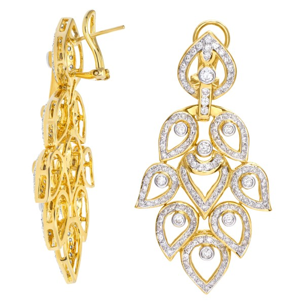 Ornate leaf drop earrings with over 4.50 carats in 18k yellow gold