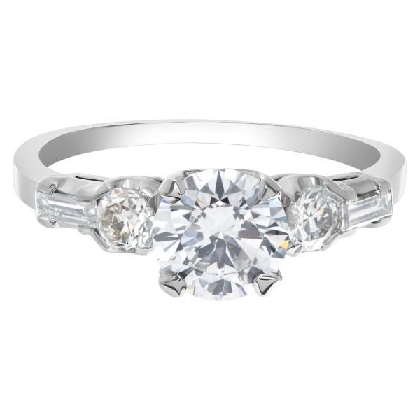 GIA Certified (Triple EX) Round Brilliant Cut Diamond Ring 1.03 carat (D Color-Si1 Clarity) set in a platinum