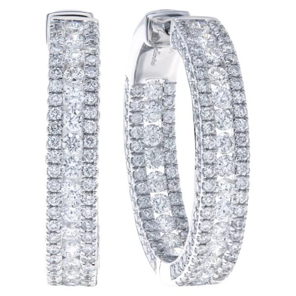 Diamond hoop earrings with 3.66 carats in diamonds in 14k white gold