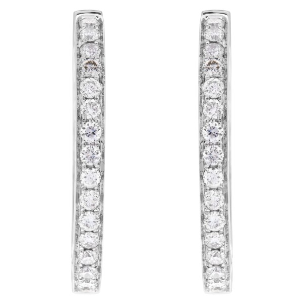 Inside/out diamond hoop earrings with 1.24 carats in diamonds in 14k white gold