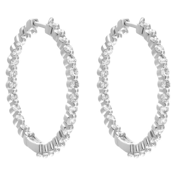 Timeless & classic Inside/Out hoop earrings in 14k white gold
