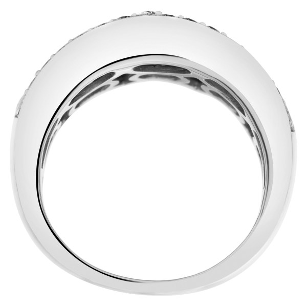 Elegant diamond ring set in 14k white gold with approximately 1.25 carat in diamonds
