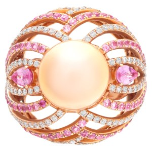 Bold and beautiful ESME cocktail ring with a center fresh water golden pearl of 11.5mm with pink sapphire accents of 1.78 carats and round cut G-H. SI1-SI2 diamond accents.