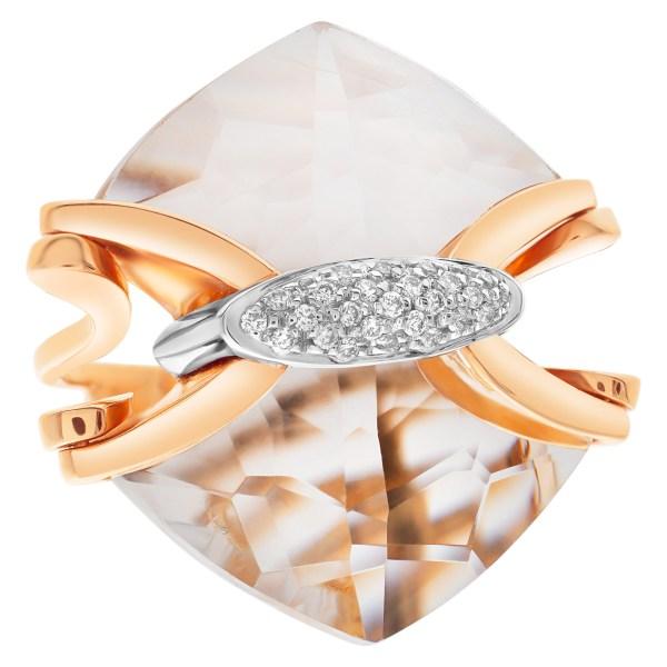 "Mesmerizing quartz & diamonds ring by Italian designer ""Falcinelli"", w 17 carats ""arrow""  shape cut quartz & diamonds."