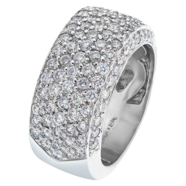 Sparkling bright micro pave diamond ring set in 18k white gold