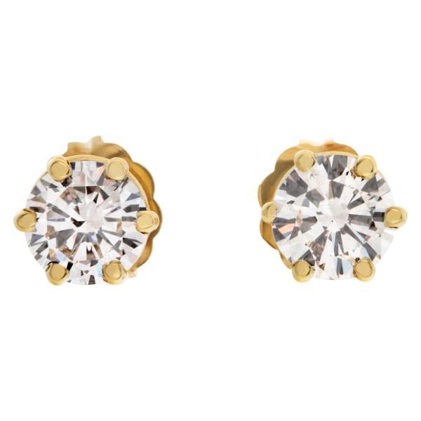 GIA certified diamond studs round brilliant diamond 0.51 carat (K color, VS2 clarity) and 0.48 carat (K color, SI1 clarity)