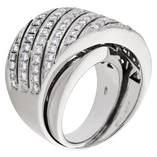 """Contemporary design wide """"crisscross"""" ring with 1.50 carat pave diamonds set in 18K white gold."""