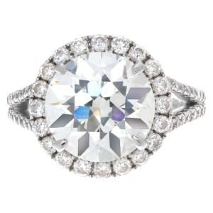 GIA certified diamond ring 4.39 carat (K color, VVS2 clarity) set in 18k white gold setting