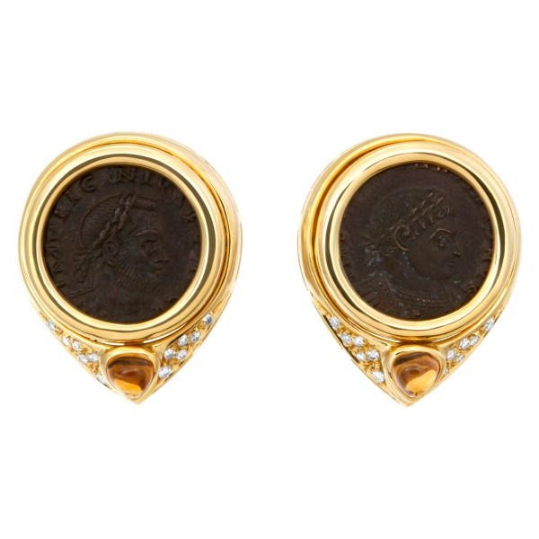 Ancient coin earrings in 18k with diamonds and citrines cabochon