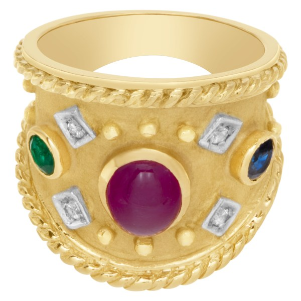 Wide ring with cabochon ruby, emeralds and diamonds set in 18k