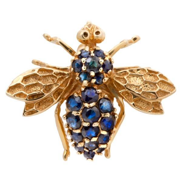 Sapphire bee in 14k