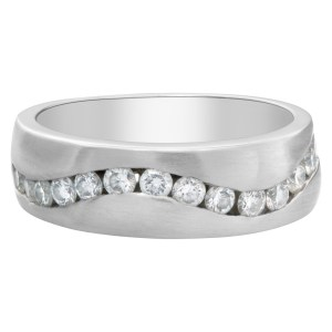 Wave of channel set diamonds wedding band in 14k White Gold