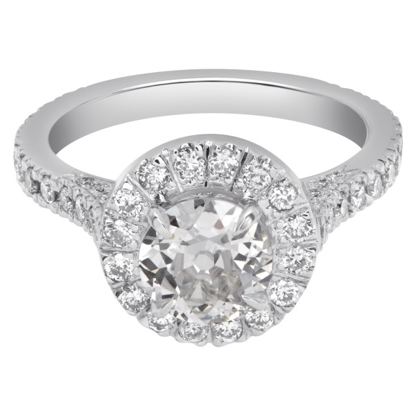 GIA certified old european brilliant cut 1.17 carat (K color, VS2 clarity) ring in diamond halo setting