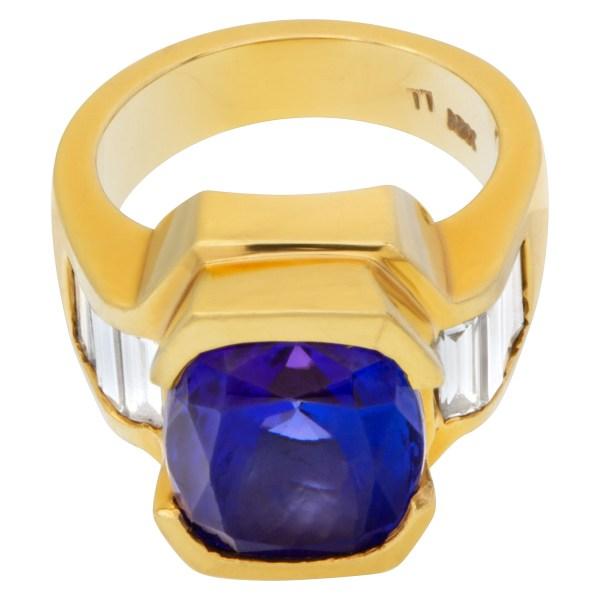 AGL certified striking blue gem tanzanite 9.52 carat diamond ring