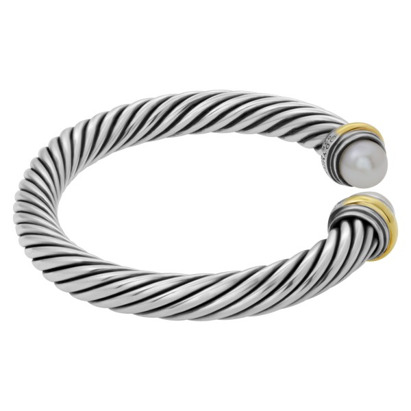 David Yurman cable cuff in sterling silver & 14k adoranted with pearls