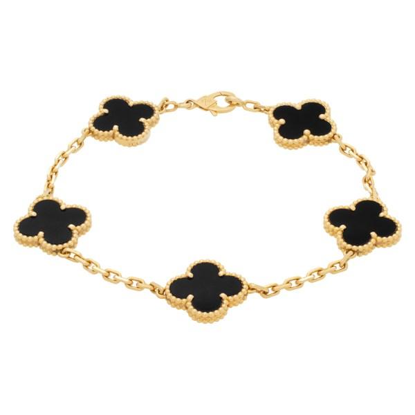 "Van Cleef & Arpels ""Alhambra"" bracelet with 5 black onyx motifs in 18k Yellow gold"
