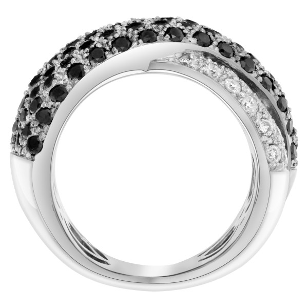 Black and white diamond X kiss ring in 14k white gold over 1.5 cts