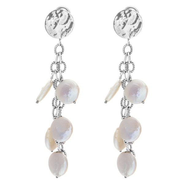 Set  with earrings, bracelet and necklace in 14k white gold with Mother of Pearl dots
