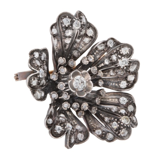 Antique Victorian Diamond Flower Brooch