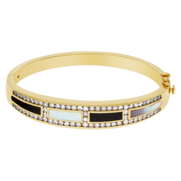 Regal diamond bangle in 14k with mother of pearl, black onyx inlay and diamonds