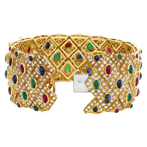 Wide diamond 18k bracelet with cabochon rubies, emeralds and sapphires