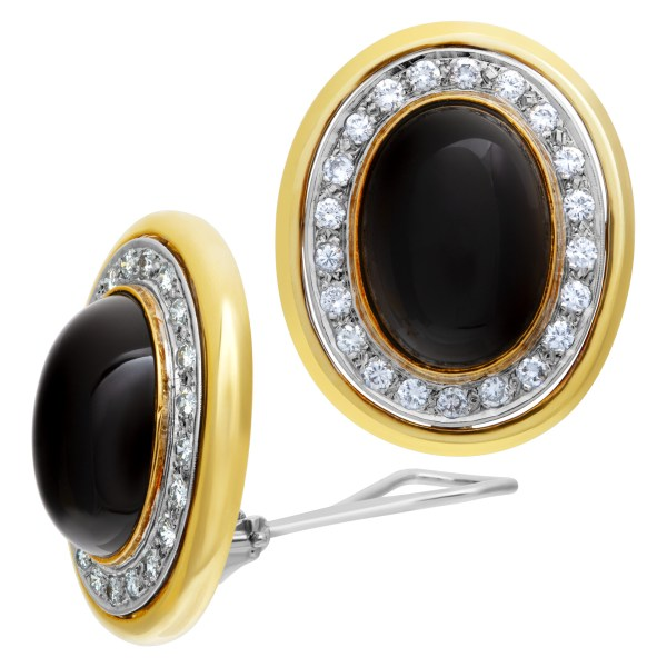 Onyx and diamond earrings in 18k white and yellow gold
