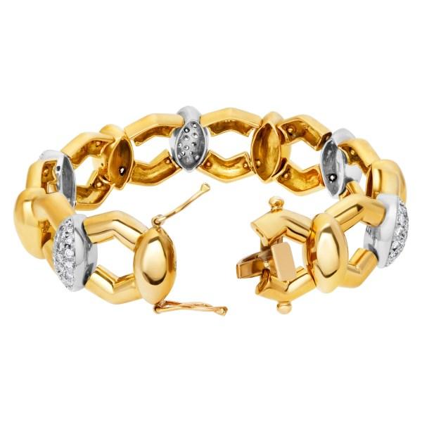 Diamond bracelet set in 18k yellow gold approximately 2.35 carats in diamonds