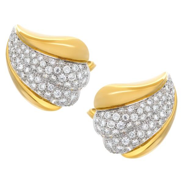 Diamond earrings set in 18k yellow gold