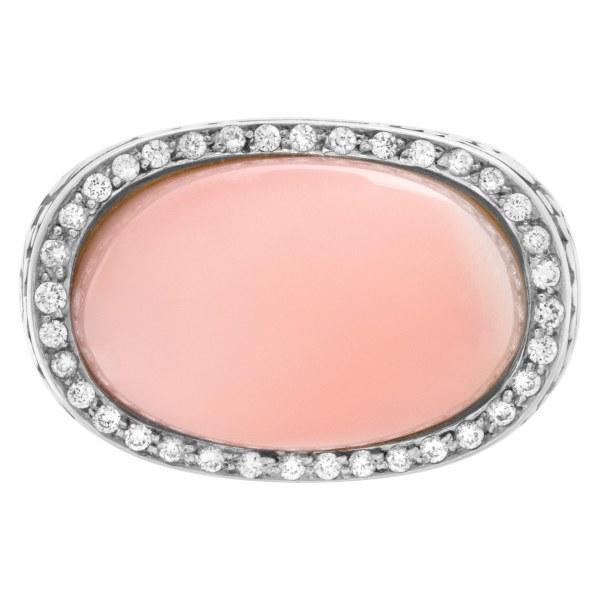 CARRERA & CARRERA, Aqua collection, Angel skin cabochon coral w/ diamonds set ib 18K white gold.
