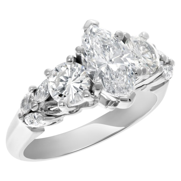 GIA certified marquise brilliant cut diamond 1.13 carat (E color, SI1 clarity) ring in 14k white gold setting