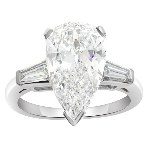 GIA certified pear brilliant diamond 3.03 carat (E color, IF clarity) ring