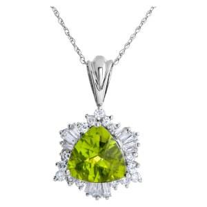 Peridot and diamond 14k white gold pendant on 14k white gold chain