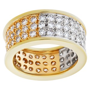 Wide Pave Diamond Band In 18k white and yellow gold