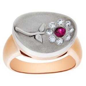 Ruby & diamond flower ring in 14k rose and white gold