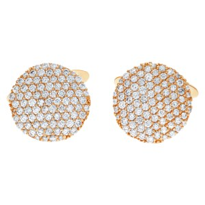 Classic 18k rose gold pave set circle cufflinks