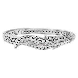 John Hardy Leaf Pave Diamond Silver bracelet