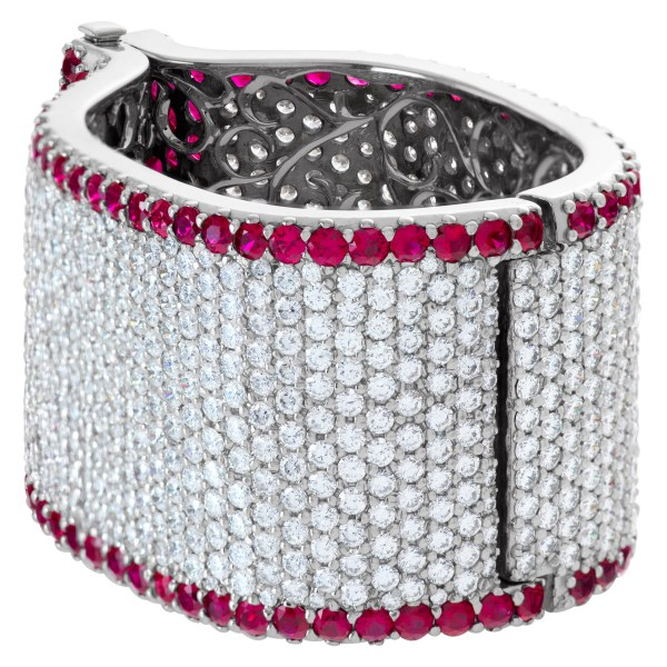 Ruby and diamond bangle in 18k white gold - over 60 carats in diamonds and 40 carats in rubies
