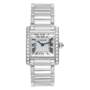 Cartier Tank Francaise WE1002S3 18k white gold 20mm Quartz watch