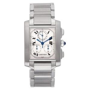Cartier Tank Francaise W51001Q3 Stainless Steel White dial 28mm Quartz watch