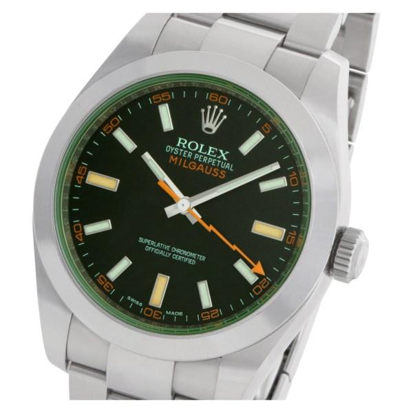 Rolex Milgauss 116400GV Stainless Steel Green customized  crystal 40mm Auto