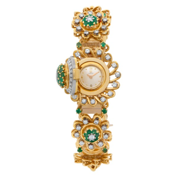 Ladies vintage Omega in 18k watch/bracelet with diamonds and emeralds