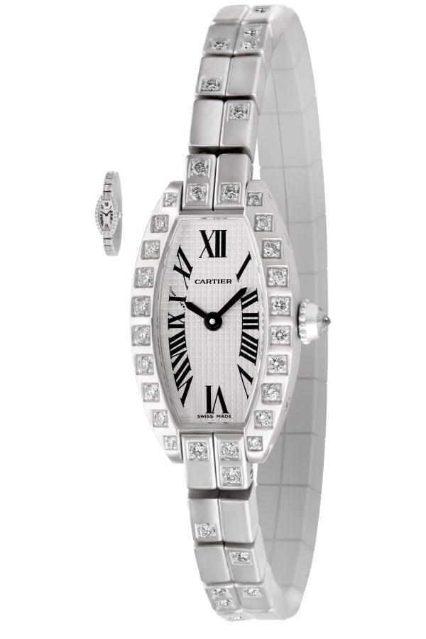 Cartier Tonneau 47422 CE 18k white gold 16mm Quartz watch