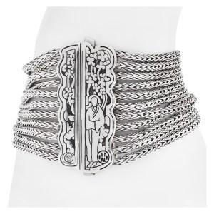 John Hardy wide multi-row chain bracelet in sterling silver
